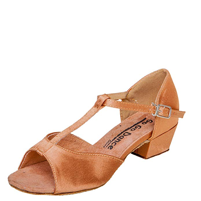 Gogo Dance Shoes GO3062G Girls Youth Ballroom Shoes Dark Tan Satin with 1.5