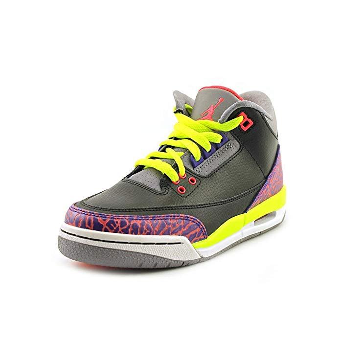 Girls Air Jordan 3 Retro Big Kids Sneakers Black/Atomic Red-Cement Grey-Violet