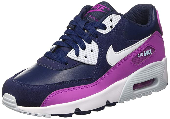 NIKE Youth Air Max 90 LTR Running Shoes-White/Blue