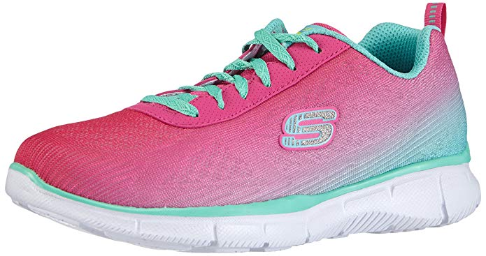 Skechers Girls equalizer Lace Up Textile Trainer Sneaker Pink Textile