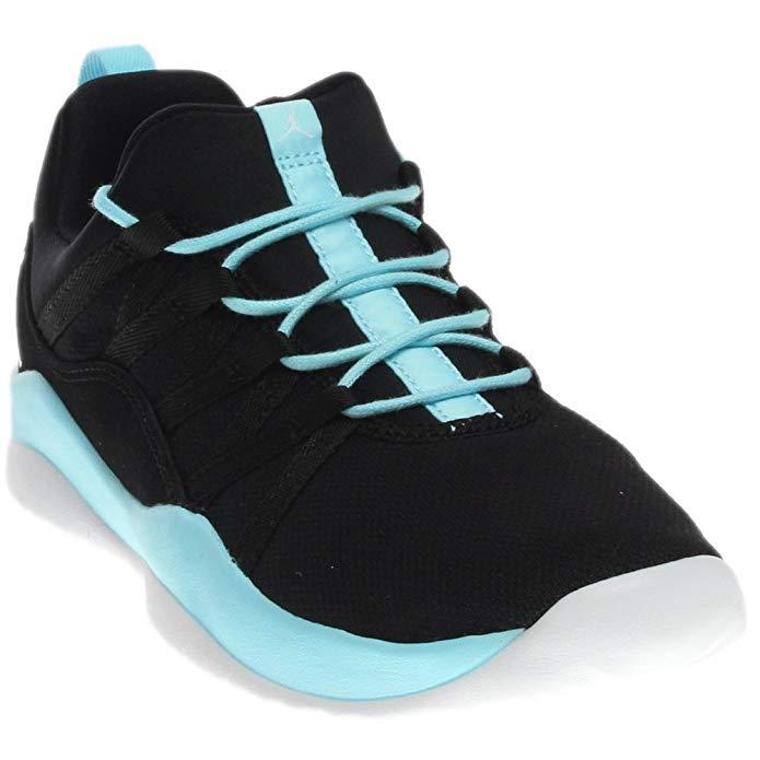 Jordan Nike Kids deca Fly GG Black/White/Still Blue/White Basketball Shoe 6 Kids US