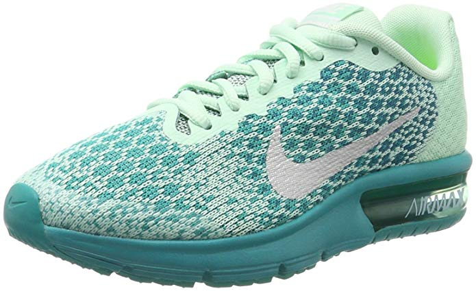 NIKE Air Max Sequent 2 (GS) SZ 6.5Y Girl Running Mint Foam/Metallic Silver-Blustery Shoes