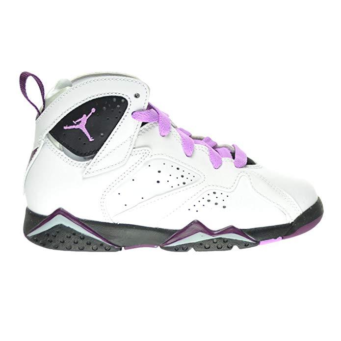Jordan 7 Retro GP Little Kid's Shoes White/Fuchsia Glow/Black/Mulberry 442961-127