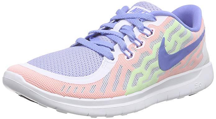 Nike Girl's Free' 5.0 Running Shoe White/Chalk Blue/Volt/White, 6Y US Big Kid